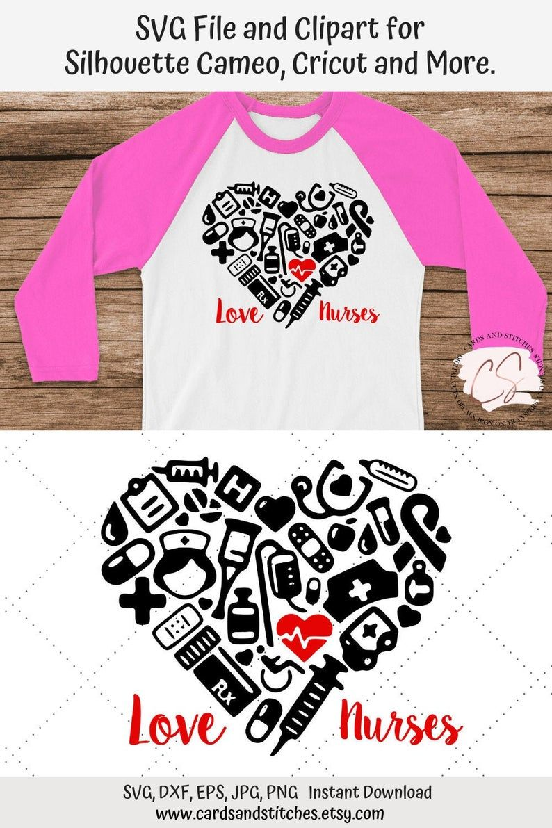Nurse Love Heart SVG and Clipart, Great for Silhouette and