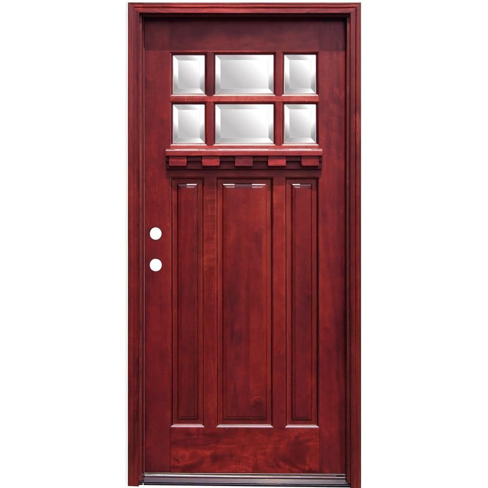 Pacific entries 36 in x 80 in craftsman 6 lite stained for Wood for exterior door