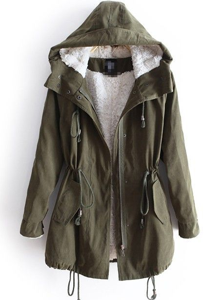 Army Green Drawstring Belt Hooded Cotton Parka Coat | Green jacket ...