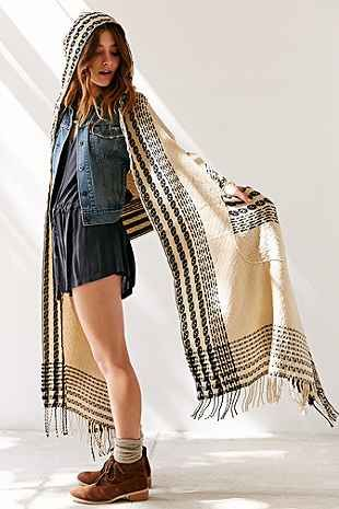 Patterned Hooded Blanket Wrap Cape Scarf - Urban Outfitters