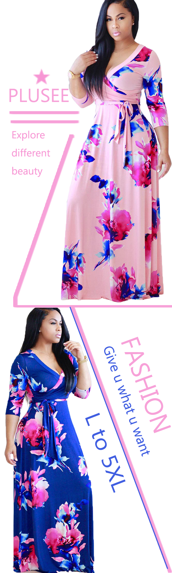 NO WORRIES ANYMORE! Plusee presents Plus Size Floral Print Dresses specially designed for all the Big Ladies.