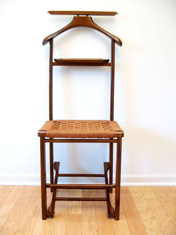 Mid Century Danish Modern Valet Butler Chair With Rope Seat