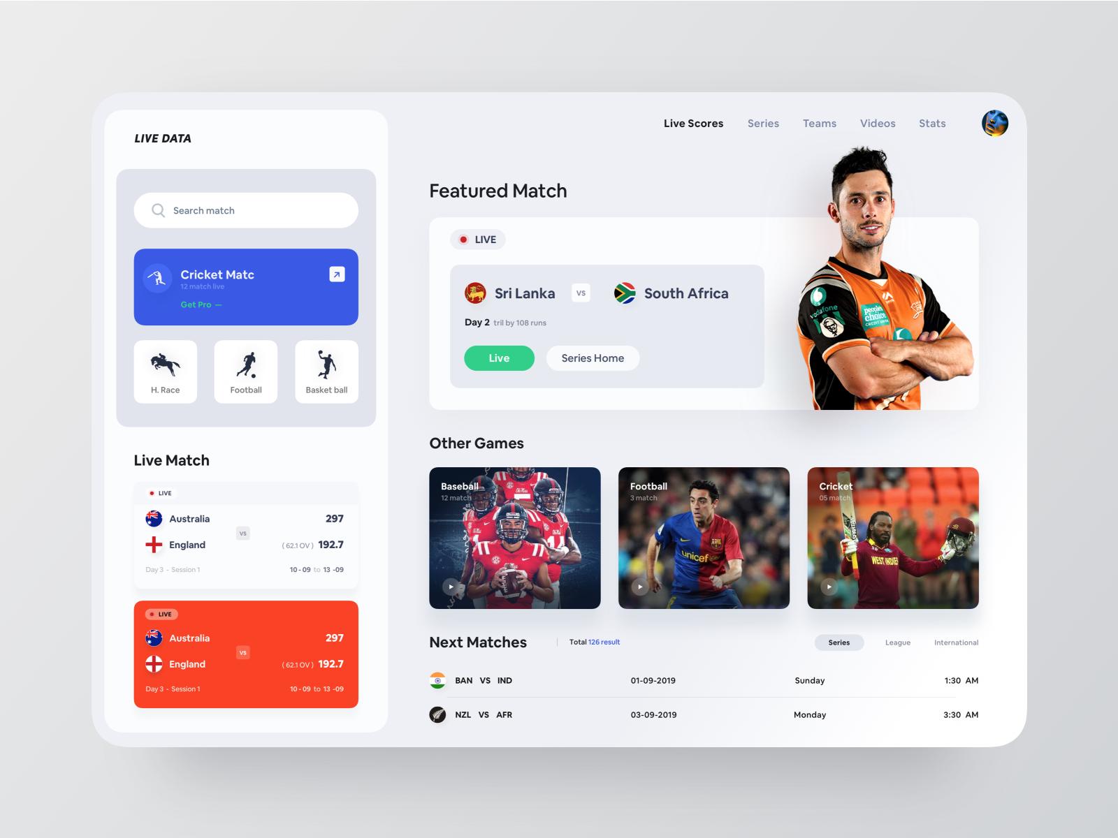 Live Sports Web App 스포츠