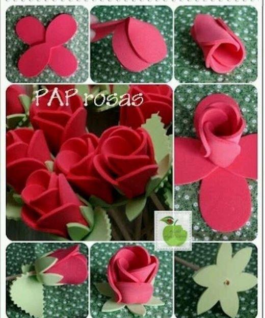 Cmo hacer flores de goma eva scar Pinterest Manualidades