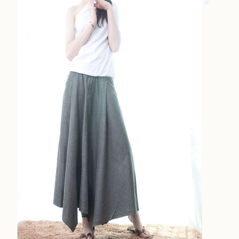 Gray long dress maxi skirt dress sale off by fm on etsy