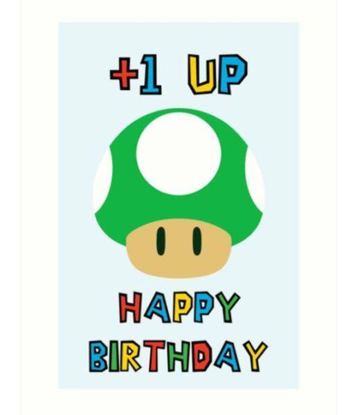 Super Mario Bros Nintendo Green Mushroom Happy Birthday Birthday