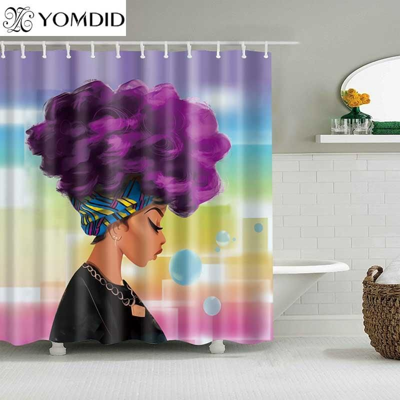 High Quality African Woman Polyester Shower Curtain Girls Shower