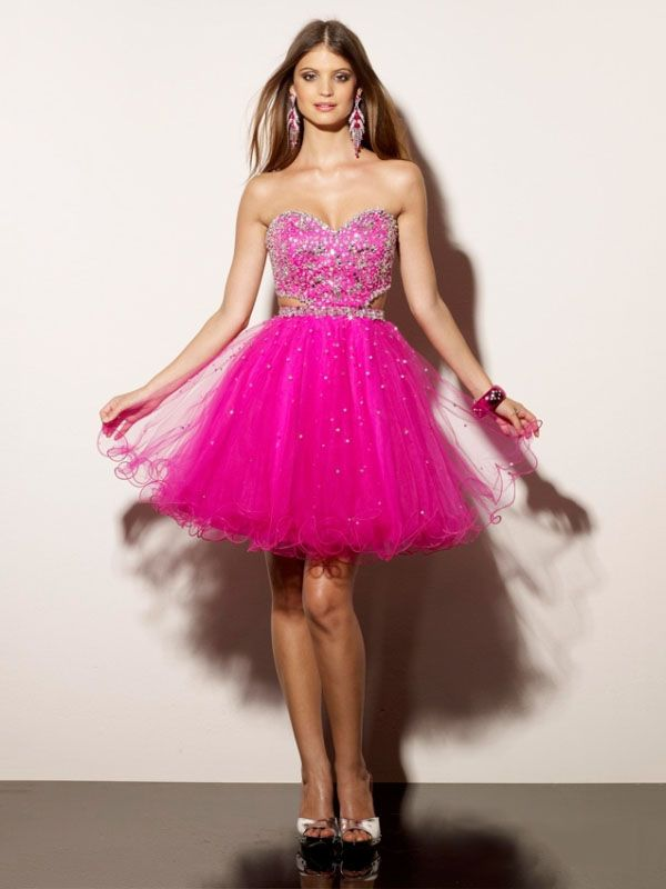 A-line Sweetheart Fuchsia Beading Tulle Short/Mini Prom Dress at ...