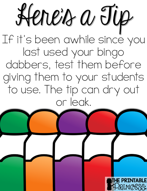 photo about Printable Bingo Markers identified as Utilizing Bingo Dabbers inside of the Clroom with a FREEBIE Simplest