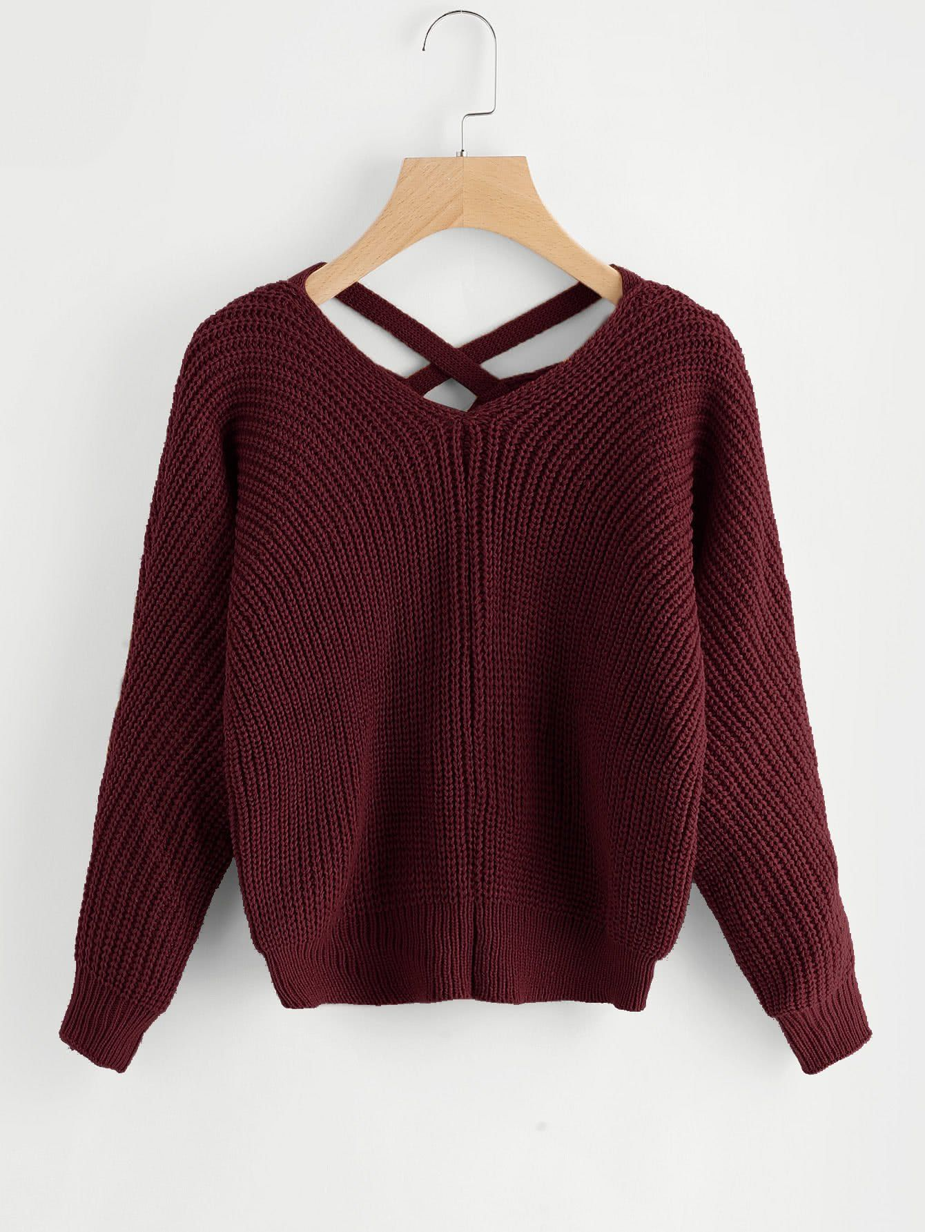 dbfc99b0e4c2f Material  Acrylic Color  Burgundy Pattern Type  Plain Neckline  V Neck  Style  Casual
