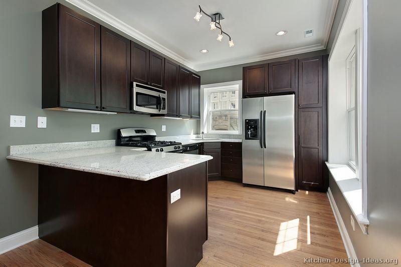 Light Gray Kitchen With Dark Cabinets Dark Kitchen Cabinets With Dark Hardwood Floors  Kitchen