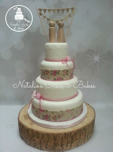 4 Tier Wedding Cake Finished With Printed Hessian Lace Pink Twine