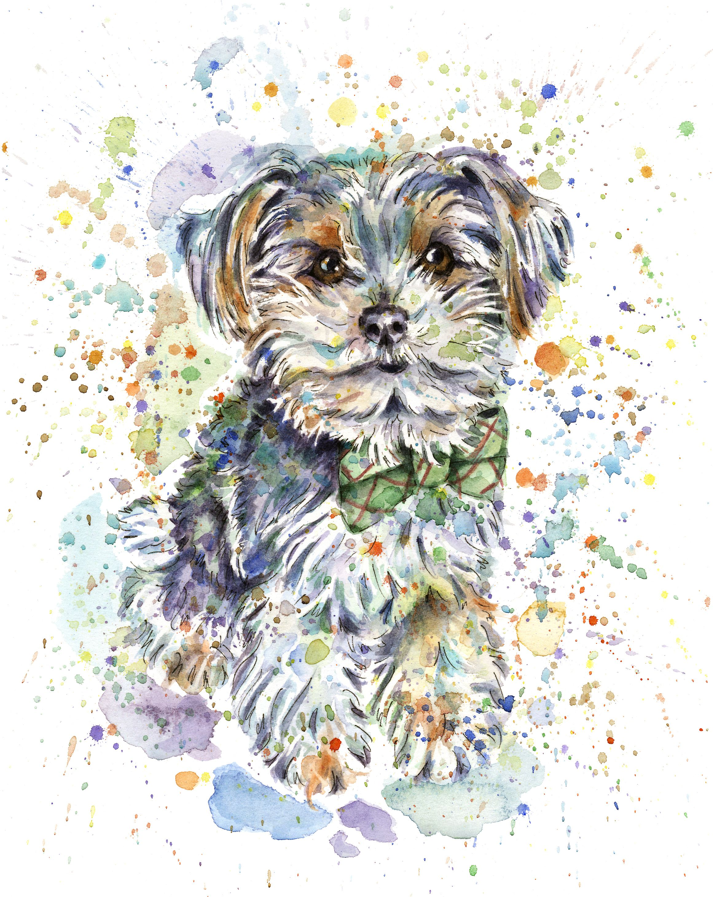 Custom Watercolour Pet Portrait Personalised Pet Painting