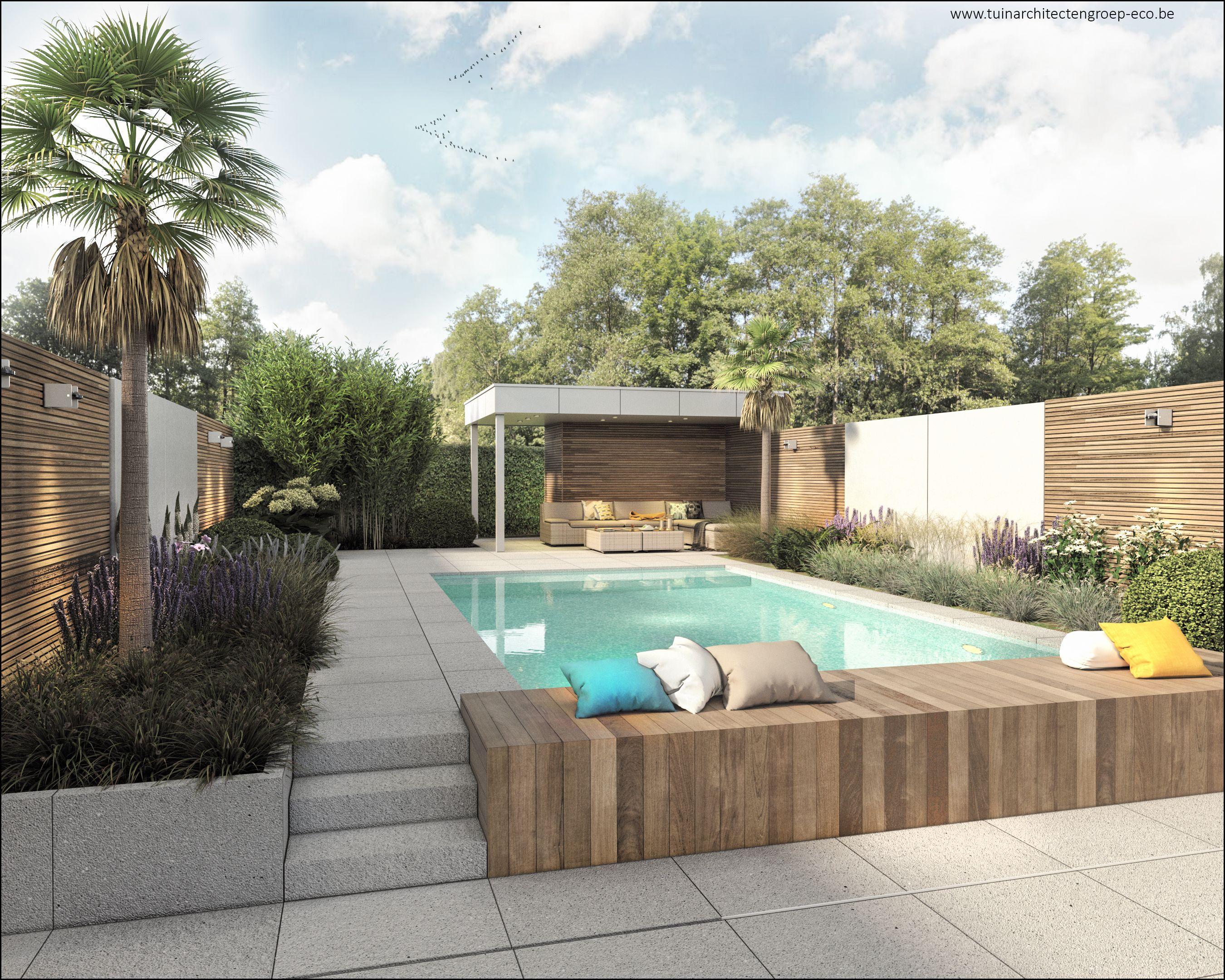 Tuinontwerp moderne tuin temse : vakantiegevoel #poolhouse #zwembad