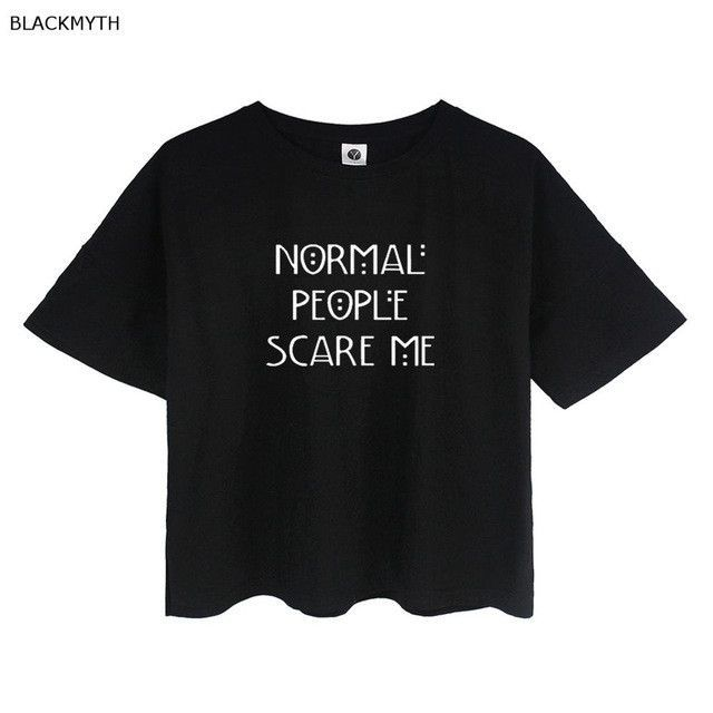 BLACKMYTH Summer Women's Fashion Crop T Shirt NORMAL PEOPLE SCARE ME Funny Letter Print Tee Cotton Plus Size Tops Loose T shirt