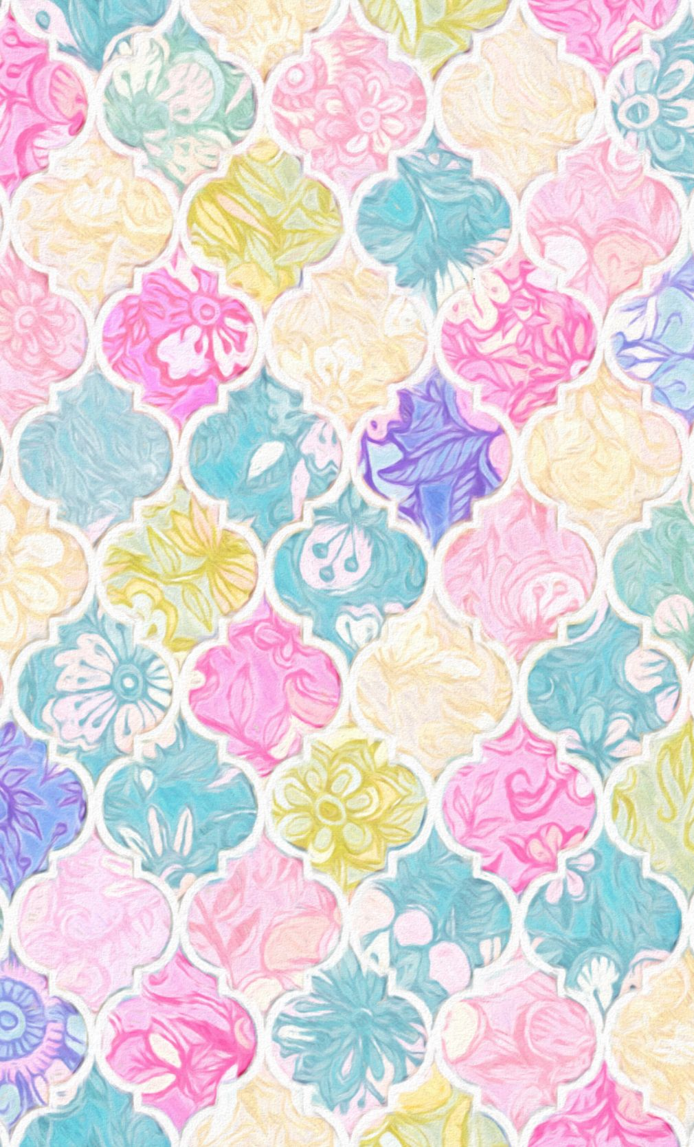 Soft Bright Pastel Floral Moroccan Tiles Fabric By Micklyn
