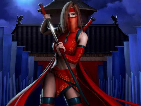 red ninja  female katana kill you lady mask moon
