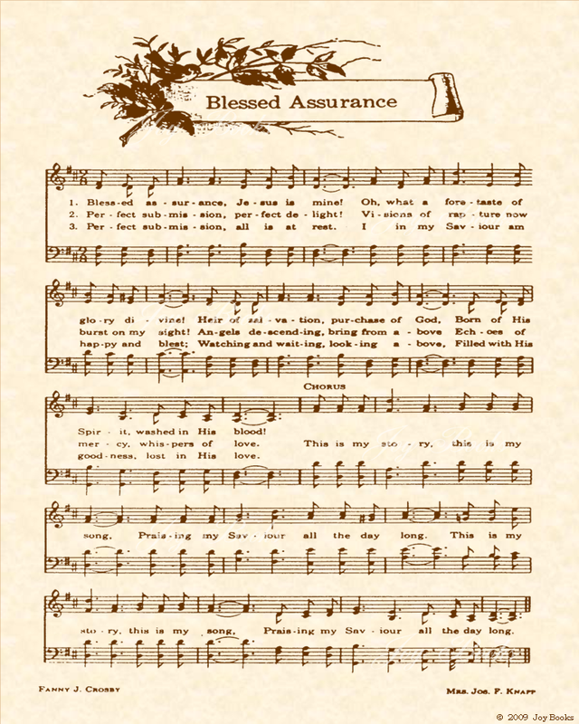 Blessed Assurance - Christian Heritage Hymn, Sheet Music, Vintage Style, Natural Parchment, Sepia Brown Ink, 8x10 art print ready to frame, Vintage Verses #vintagesheetmusic