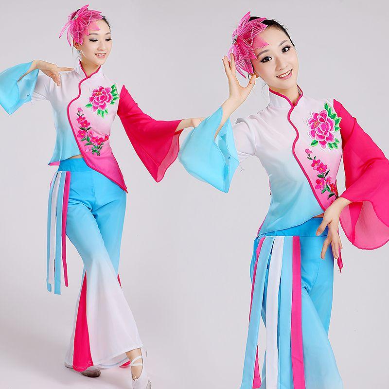 25340eeca Click to Buy << Women Chinese Folk Costume Girl National Dance Costumes  Waist Drum Dance Clothing Yangko Dance Dress Modern Performances Wear 8  #Affiliate