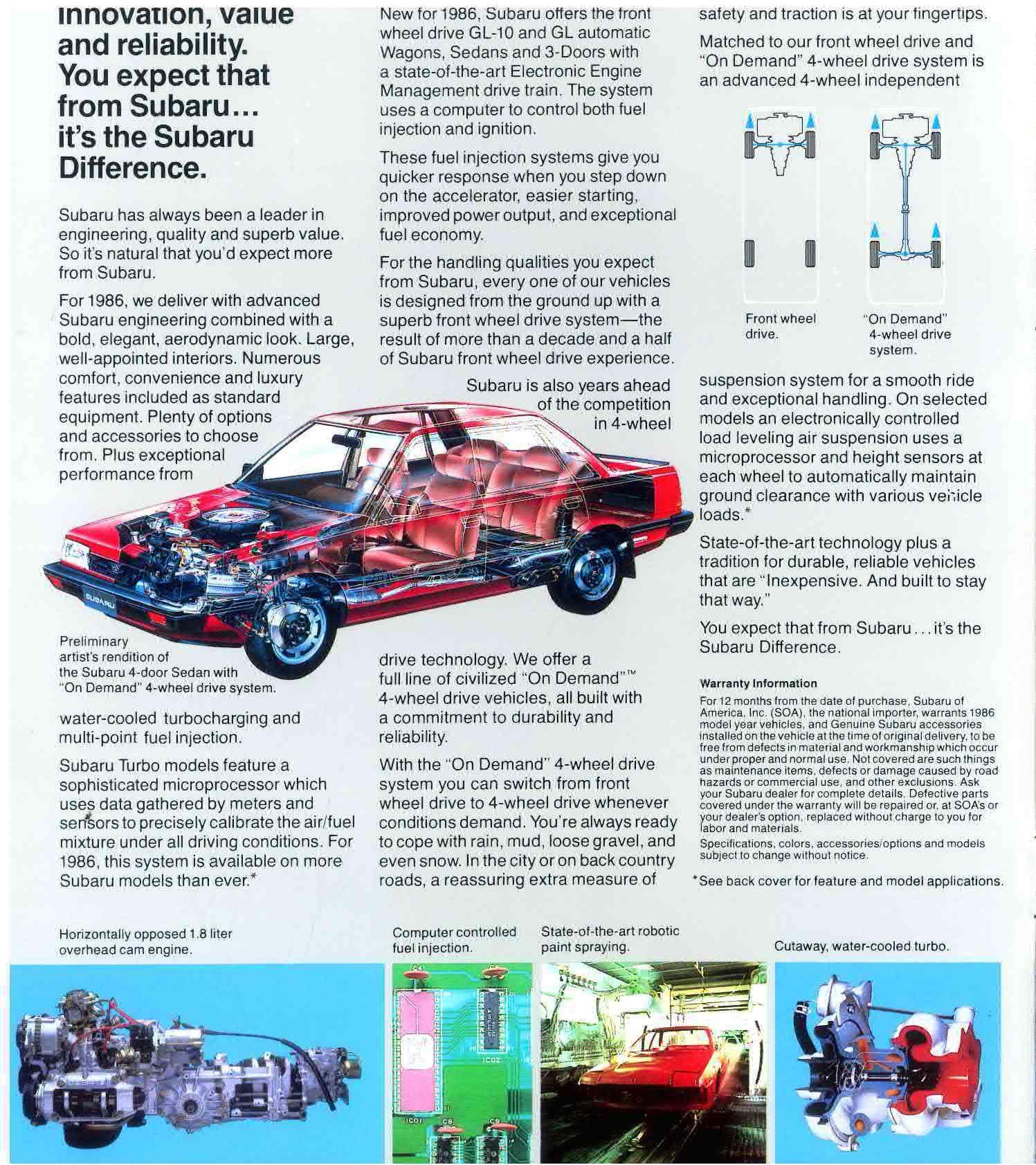 1986 Subaru Brochure Vintage Retro Print Advertising Used Subaru Subaru Toy Car