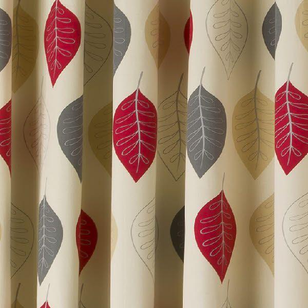 Design Modern Leaf Red Eyelet Fully Lined Ready Made Curtains - Ready made curtains red
