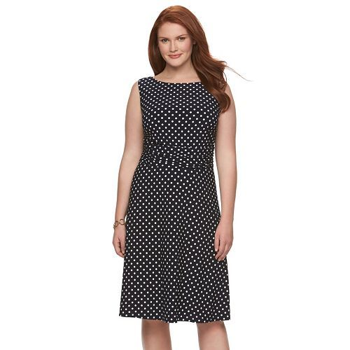 plus size chaps printed ruched dress | plus size & beautiful