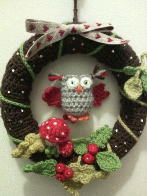 Ghirlanda Natalizia Alluncinetto Con Gufetti Karácsony Crochet