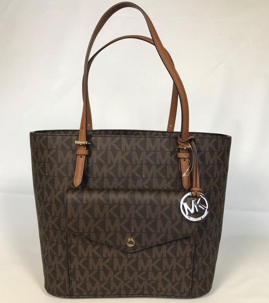 cc37306db97c NWT Michael Kors Jet Set Item Large MF Snap Pocket Tote PVC Brown Bag  $298.00