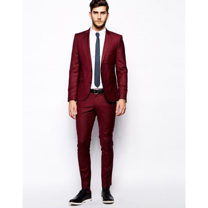crimson-red-maroon-suit-for-prom-slim-fit | Collection-of-Groom's ...