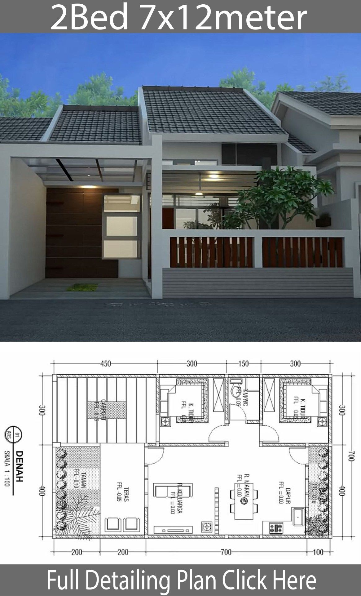 Minimalist Floor Design One Floor House 7x12m Home Design With Plansearch Small Modern House Plans House Roof Design Modern House Design