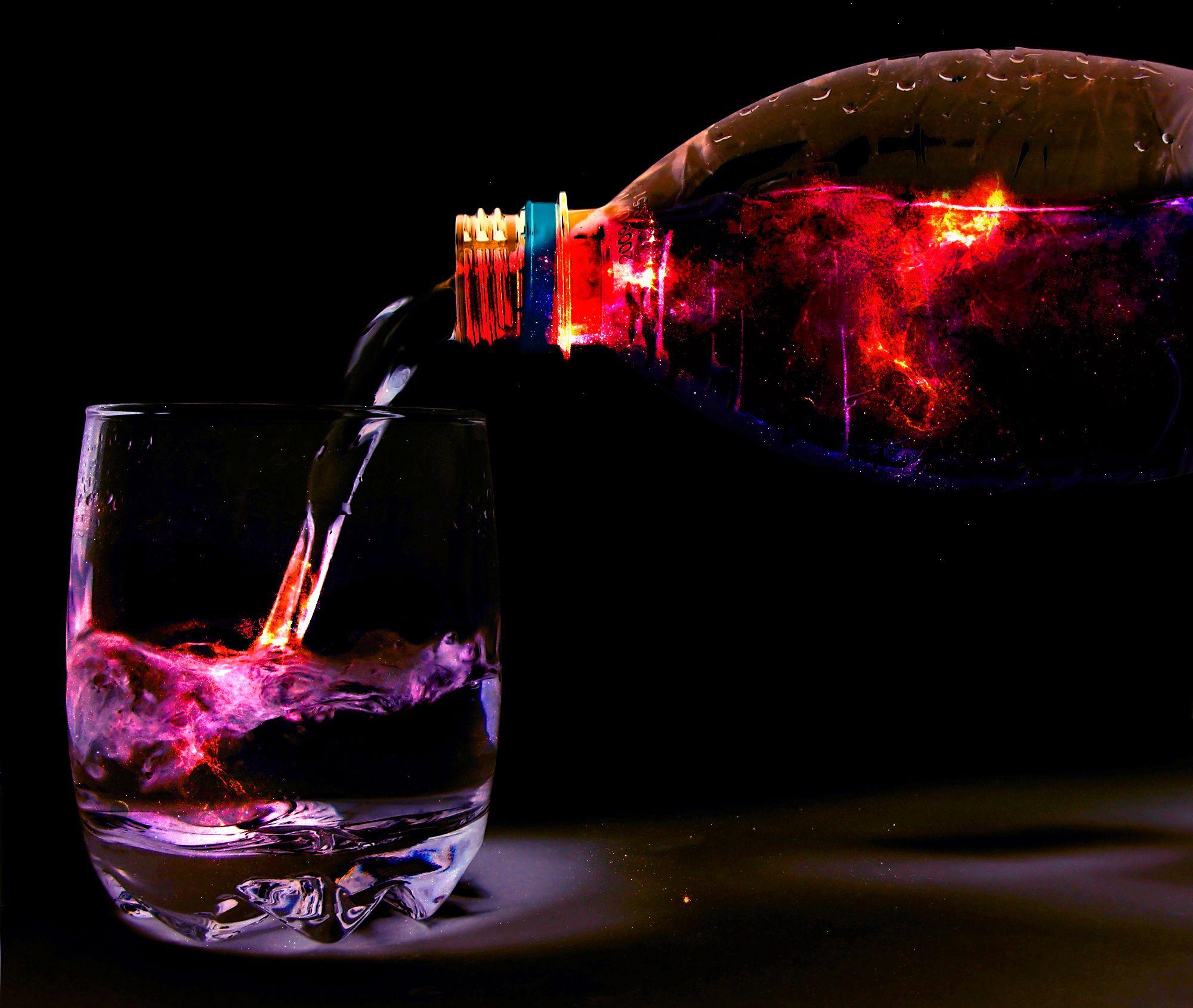 Water bottle & galaxy photo manipulation using Photoshop