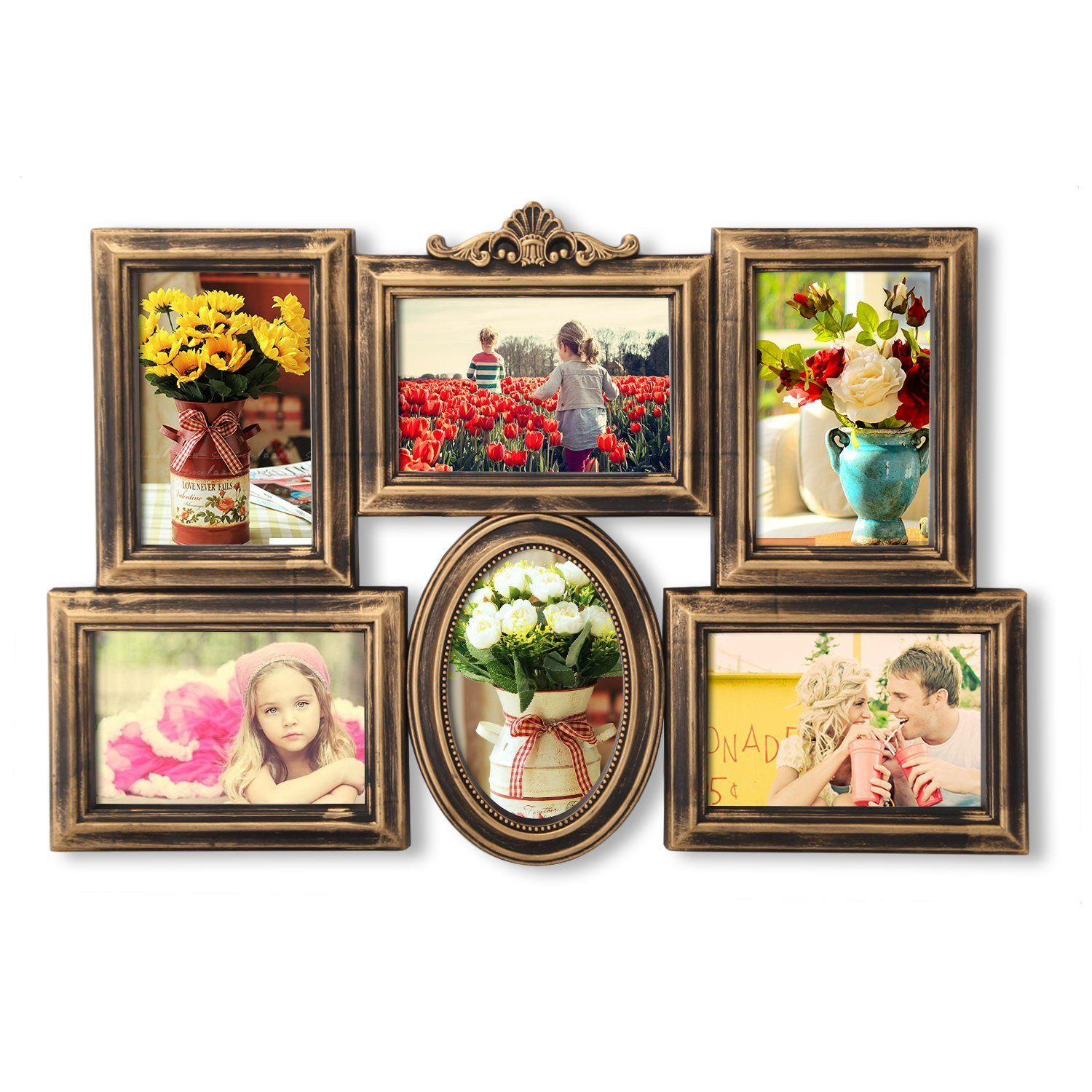 Asense antique golden collage photo frame wall hanging 4