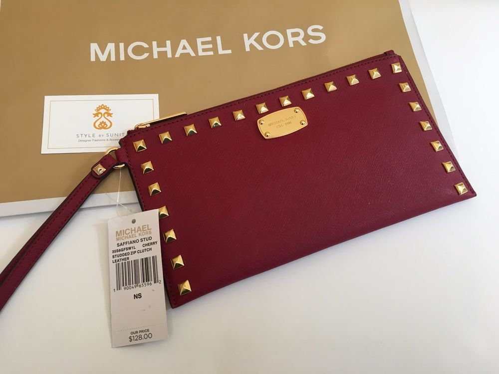 115ee7bb363170 MICHAEL KORS Saffiano Leather Stud Zip Clutch Wristlet Cherry Red Gold  Wallet #MichaelKors #Wristlet