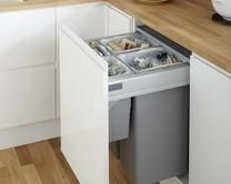 80L Integrated Recycling Bin  Kitchen Waste Management  Howdens Custom Kitchen Waste Bins Design Ideas