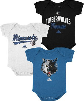 the best attitude 484a0 37dc8 Minnesota Timberwolves Newborn Baby adidas 3-Pack Creeper ...