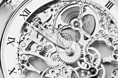 Wall Mural black and white close view of watch mechanism