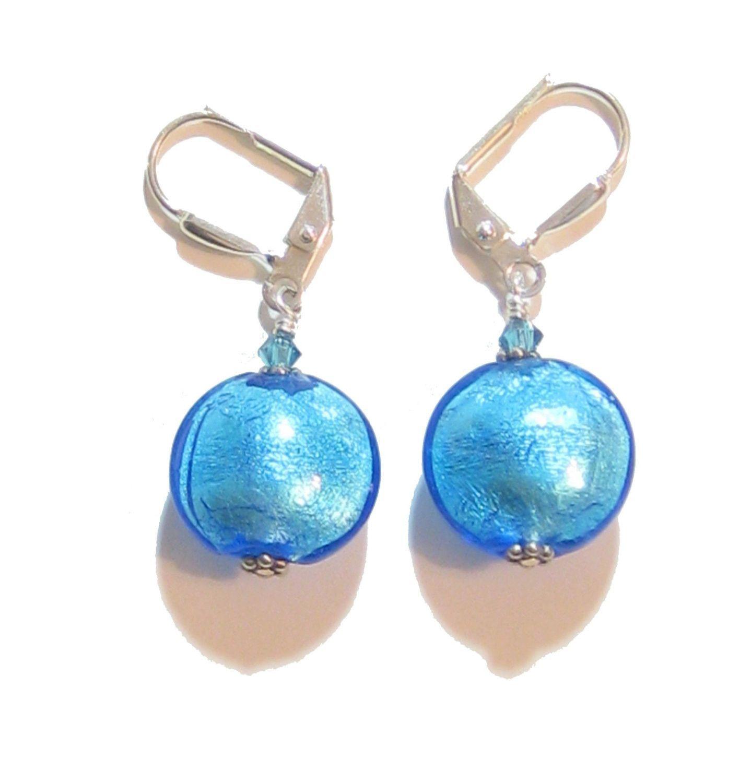 Murano Glass Aqua Disc Silver Earrings, Leverback Earrings, Venetian Jewelry