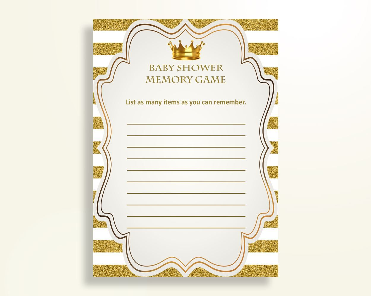 Memory Game Baby Shower Memory Game Royal Baby Shower Memory Game Gold  White Baby Shower Gold