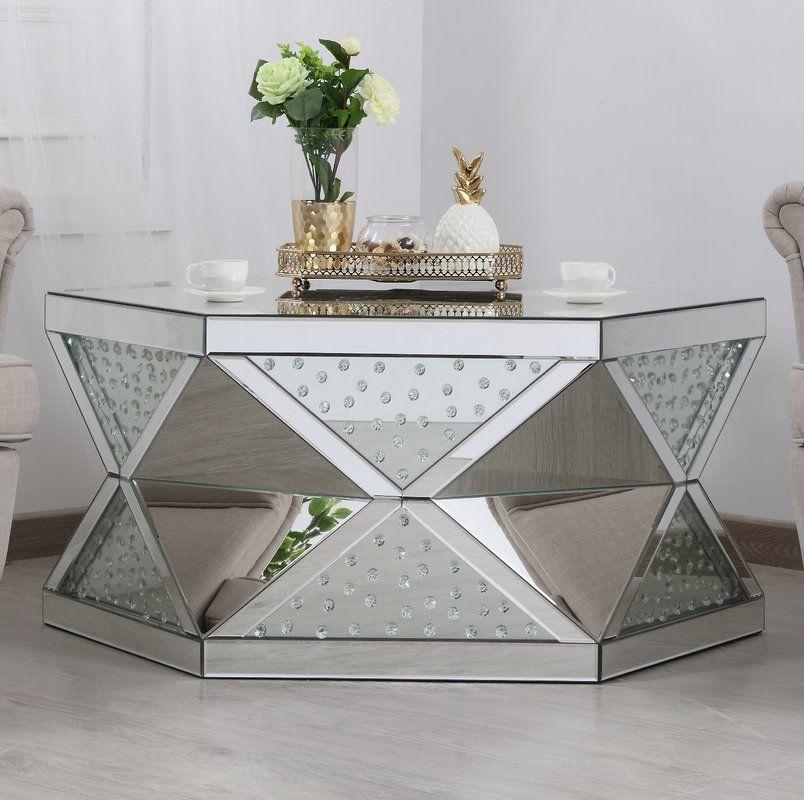 Aarush Drum Coffee Table Coffee Table Mirrored Coffee Tables Drum Coffee Table