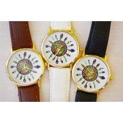 reloj geneva con estampado de plumas
