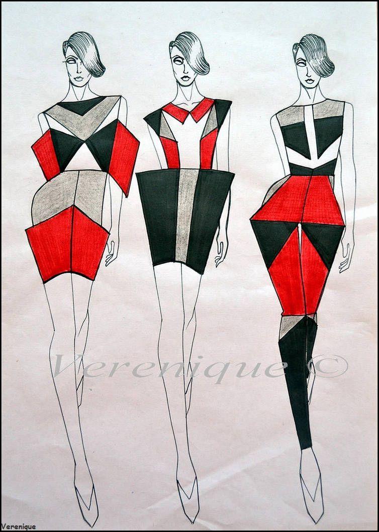Geometry 1 By Https Www Deviantart Com Verenique On Deviantart Illustration Fashion Design Fashion Design Sketches Fashion Illustrations Techniques