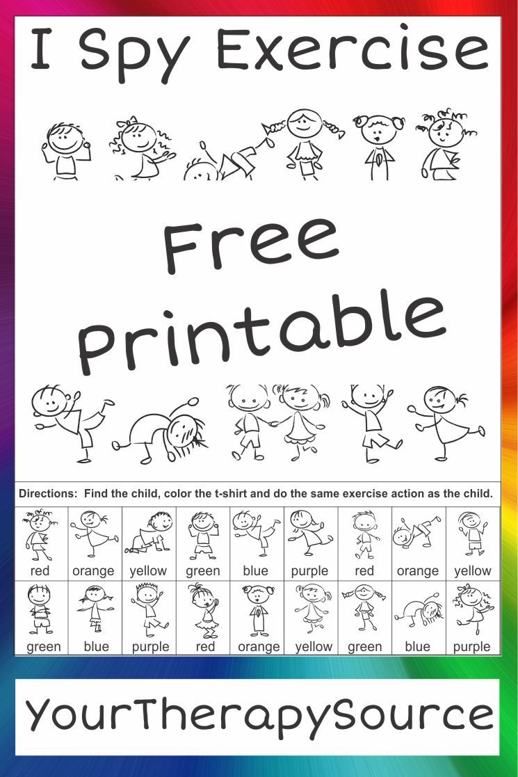 I Spy Exercise Movement And Visual Perceptual Activity Freebie Your Therapy Source Visual Perceptual Activities Emotions Preschool Preschool Worksheets [ 1117 x 745 Pixel ]