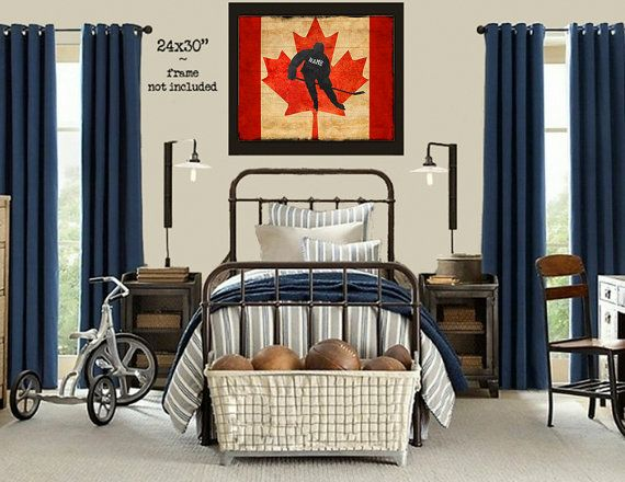 Personalized Hockey Print - Vintage Canadian Flag - Boys Room Decor - Canada Flag Gifts for Boys #vi214