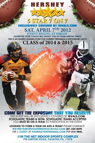 Hershey Center 5 Star 7 On 7 Football Camp Promotional Flyer