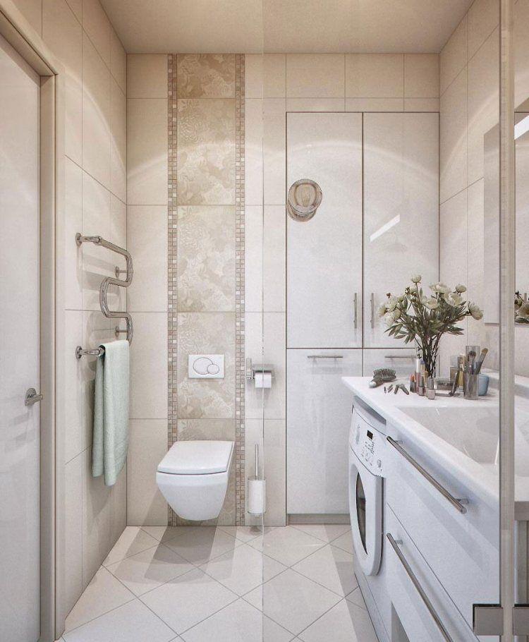 helle Fliesen mit längliches Detail aus Mosaik Waschküche - badezimmer aufteilung neubau