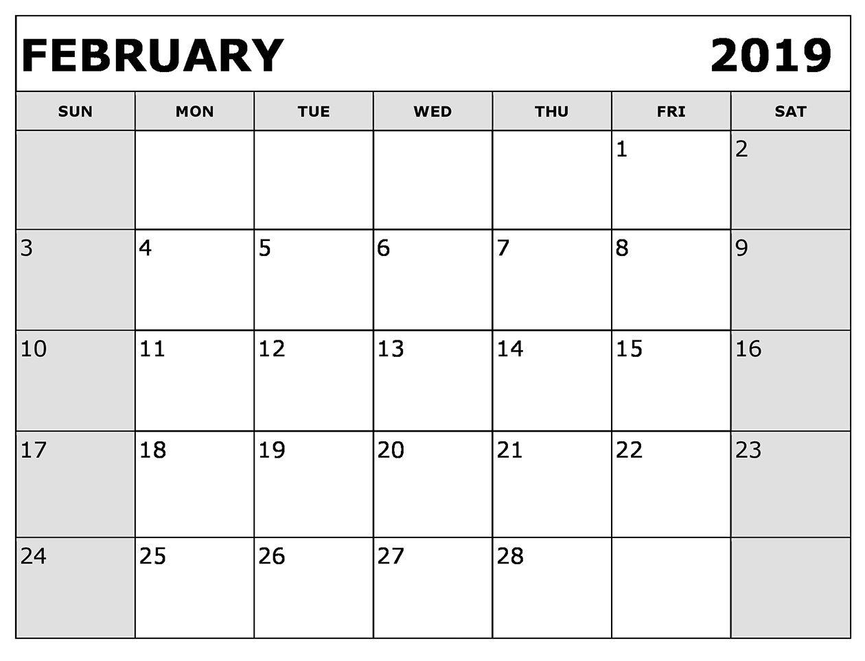 February 2019 Calendar Printable Editable February 2019 Calendar
