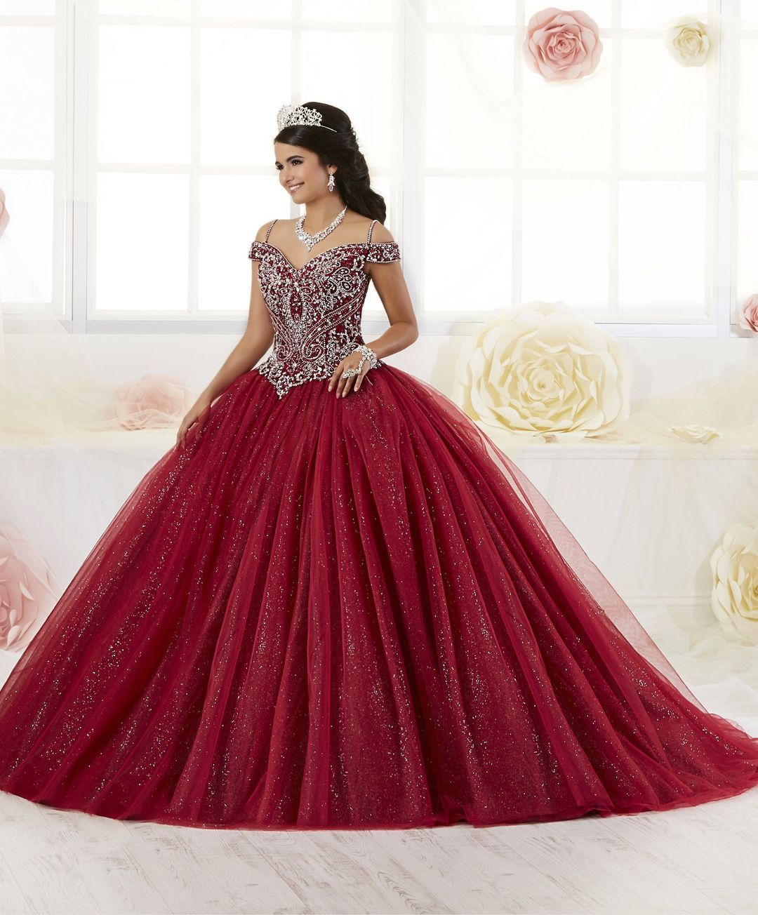 Beaded Off the Shoulder Quinceanera Dress by House of Wu 26899 -   15 dress Quinceanera burgundy ideas