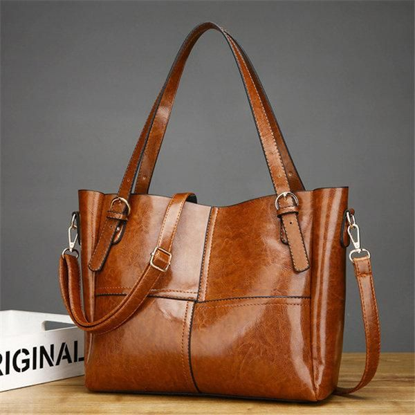 Elegant Oil Wax Pu Leather Patchwork Handbag