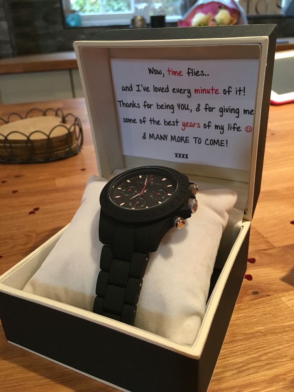 3 year anniversary gift for my boyfriend of 3 years. watch and card