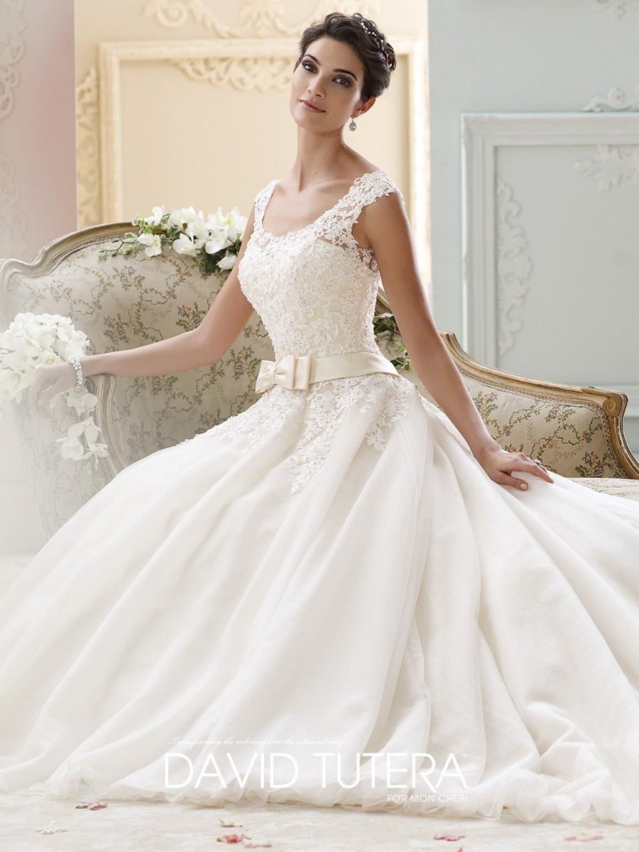 Wedding dress with bow on back  Be the blushing bride with the David Tutera  Marmee wedding